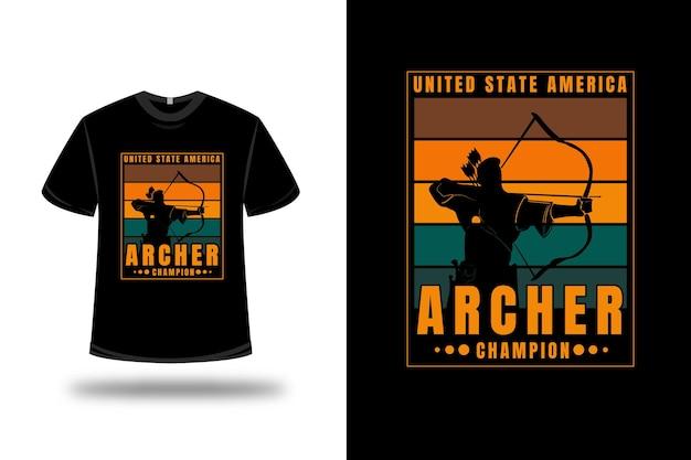 T-shirt verenigde staat amerika boogschutter kampioen kleur oranje en groen
