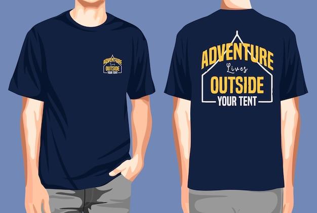 T-shirt voor- en achterkant avontuur leeft buiten je tent
