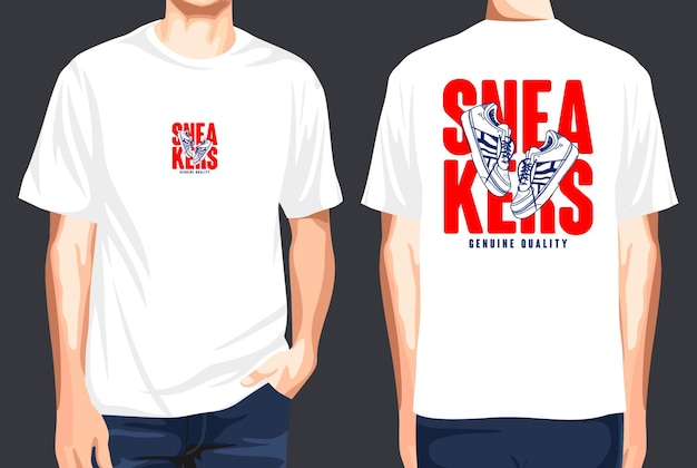 T-shirt voor- en achterkant sneakers