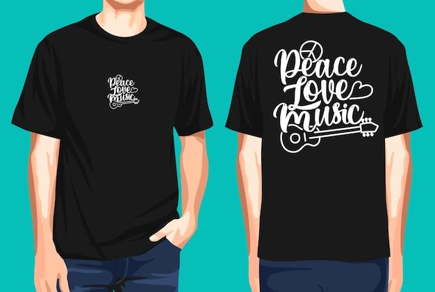 T-shirt voor- en achterkant vrede liefde muziek