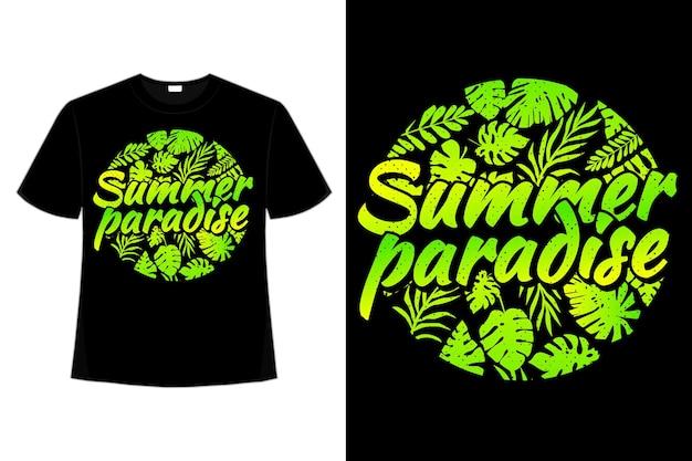T-shirt zomer paradijs blad groen verloop platte retro vintage illustratie vintage