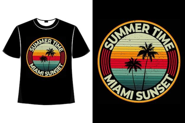 T-shirt zomertijd miami zonsondergang strand retro stijl