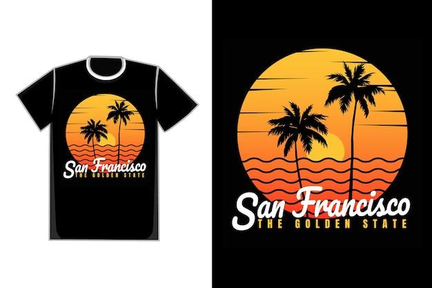 T-shirt zonsondergang strand san francisco zomer vintage stijl