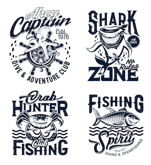 T-shirtafdrukken met mascottes van onderwaterdieren
