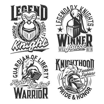 T-shirtafdrukken met ridderhoofden vectormascottes set