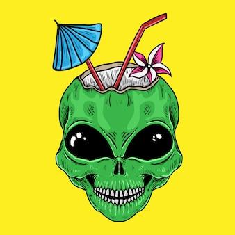 T-shirtontwerp alien kokosnoot geïsoleerd