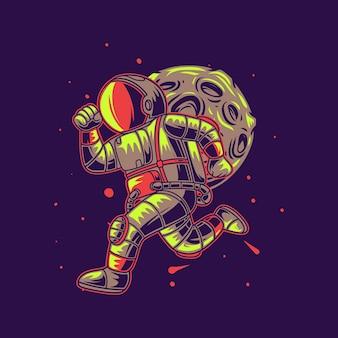 T-shirtontwerp astronaut die tegen de achtergrond van de maanillustratie loopt