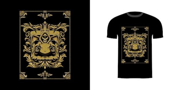 T-shirtontwerp demon met gravureornament voor t-shirtontwerp