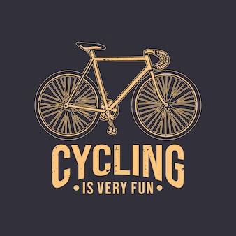 T-shirtontwerp fietsen is erg leuk met vintage fietsillustratie