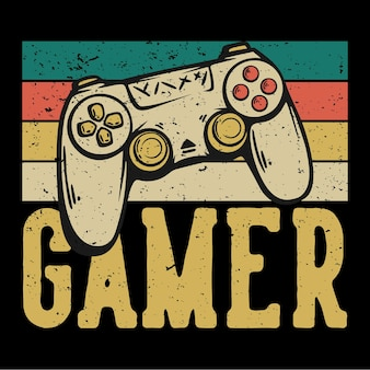 T-shirtontwerp gamer met gamepad vintage illustratie