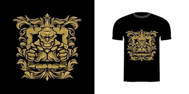 T-shirtontwerp golem met gegraveerd ornament