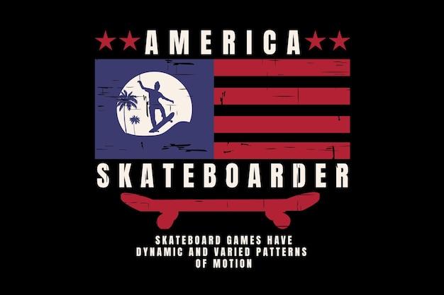 T-shirtontwerp met amerikaanse skateboardvlag vintage stijl