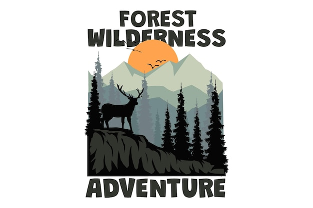 T-shirtontwerp met bos wildernis avontuur herten berg in retro stijl vintage style