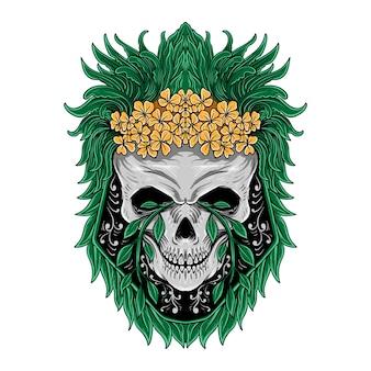 T-shirtontwerp met de hand getekende schedel en bladillustratie