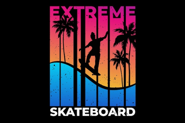 T-shirtontwerp met extreme skateboardzomerzonsondergang in retro Premium Vector