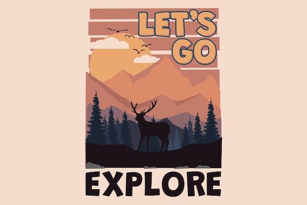 T-shirtontwerp met ga verkennen herten natuur landschap zonsondergang in retro stijl vintage