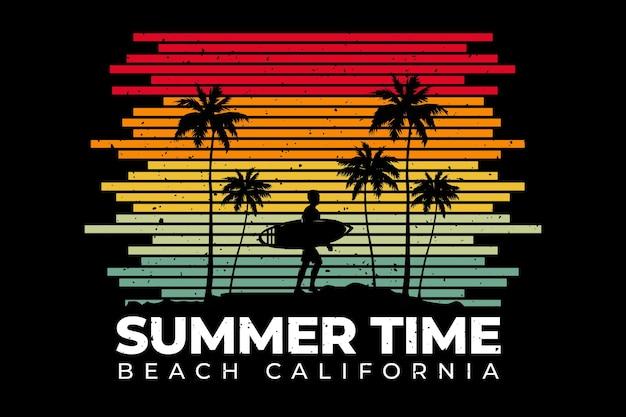 T-shirtontwerp met lijn in retro-stijl strand zomertijd californië