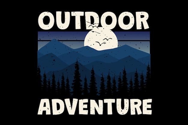T-shirtontwerp met outdoor avontuur landschap zonsondergang vintage stijl