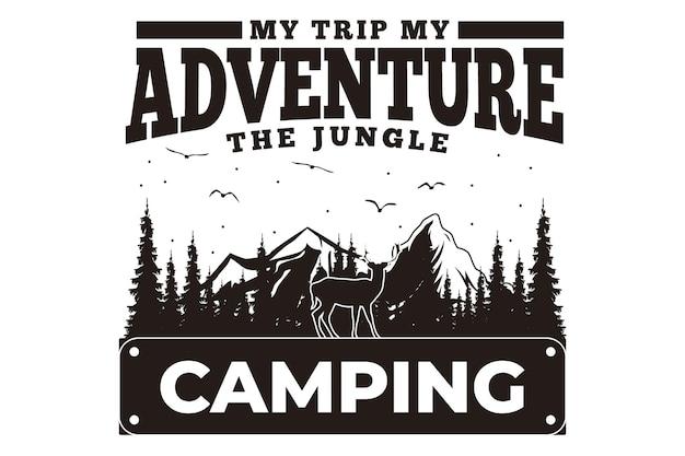 T-shirtontwerp met reisavontuur kamperen dennenboom berg vintage stijl