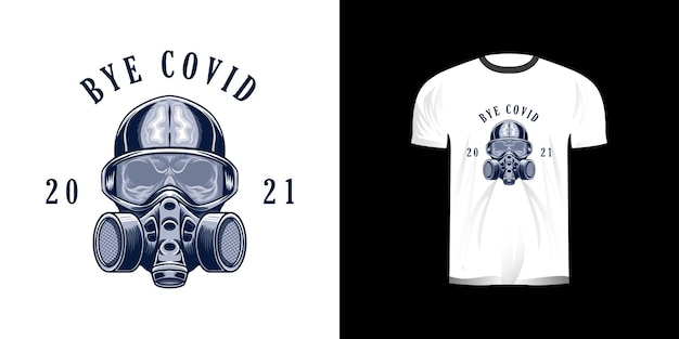 T-shirtontwerp met schedel en maskerillustratie