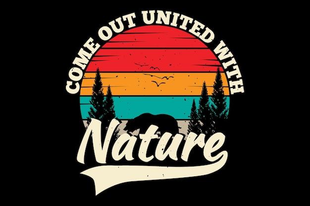 T-shirtontwerp met silhouet beer natuur dennenboom in retro stijl