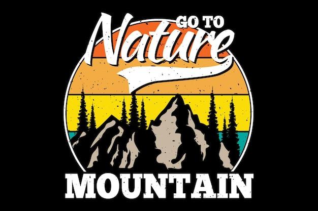 T-shirtontwerp met silhouet berg dennenboom natuur in retro