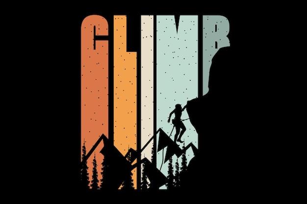 T-shirtontwerp met silhouet bergbeklim dennenboom in retrostijl
