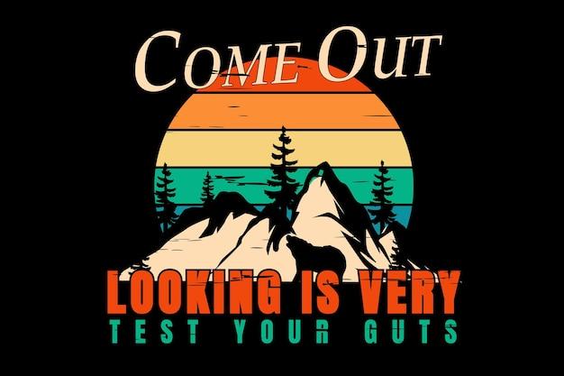 T-shirtontwerp met silhouet bergpijnboom in retrostijl vintage