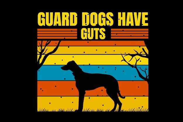 T-shirtontwerp met silhouet hondenwachtboom in retrostijl vintage