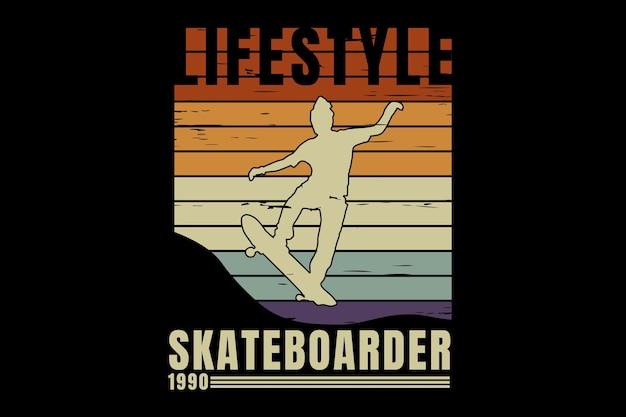 T-shirtontwerp met silhouet skateboarder levensstijl in retro vintage