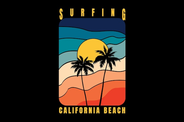 T-shirtontwerp met silhouet strand californië in retrostijl vintage in retro
