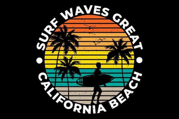 T-shirtontwerp met silhouet surf golven californië strand palmboom in retro stijl