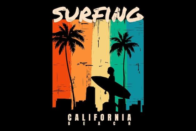 T-shirtontwerp met silhouet surfen strand zonsondergang californië mooi in retro stijl