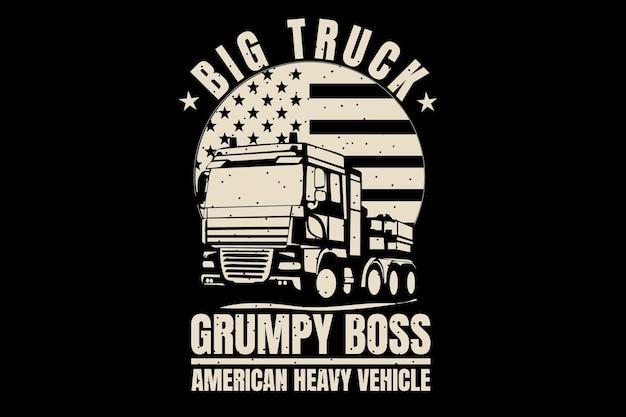 T-shirtontwerp met silhouet vrachtwagenbaas amerikaanse vlag vintage stijl