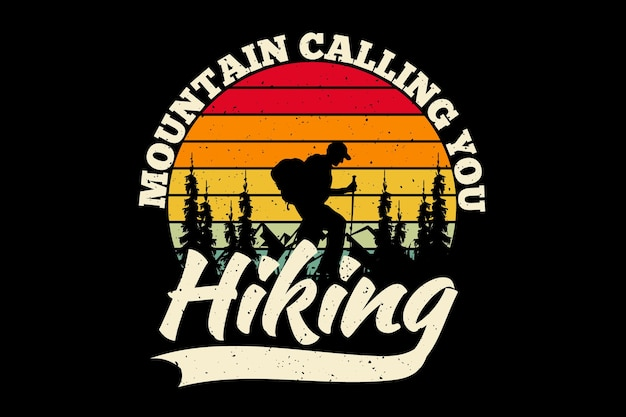 T-shirtontwerp met silhouet wandelen berg roepende dennenboom in retro stijl