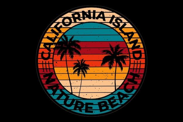 T-shirtontwerp met strand natuur californië eiland in retro vintage