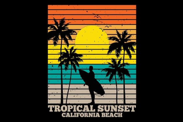 T-shirtontwerp met tropisch strand in californië bij zonsondergang in retrostijl