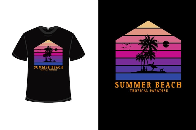 T-shirtontwerp met tropisch strandparadijs in de zomer in roze en paars