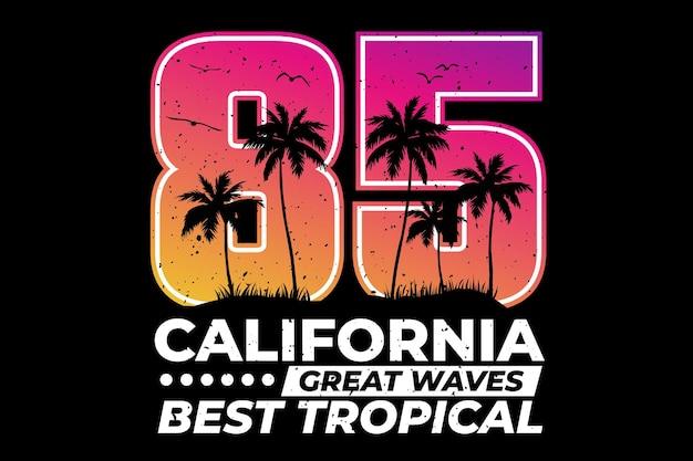 T-shirtontwerp met typografie californië tropische zonsondergang