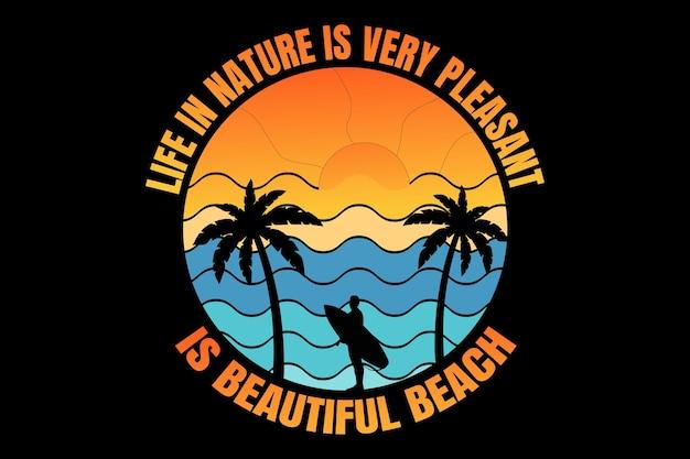 T-shirtontwerp met typografie silhouet strand zonsondergang natuur surfen mooi vintage