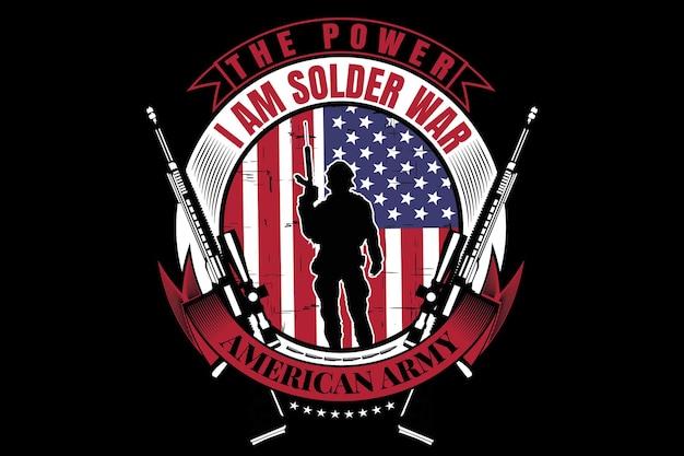 T-shirtontwerp met typografie soldeer amerikaanse vlag leger vintage stijl