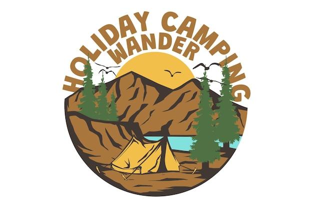 T-shirtontwerp met vakantie camping natuur bergmeer grenen vintage stijl handgetekend