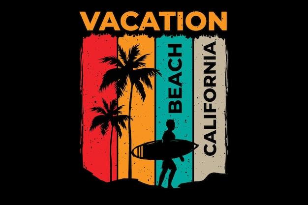 T-shirtontwerp met vakantiestrand californië surfen in retrostijl vintage