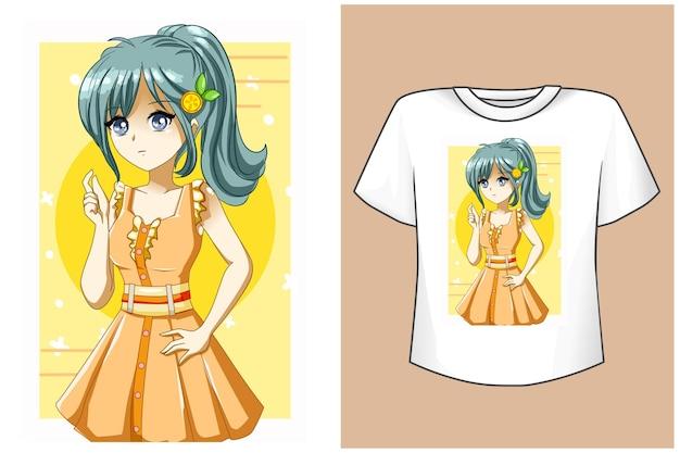 T-shirtontwerp mockup schattig meisje gele jurk in de zomer