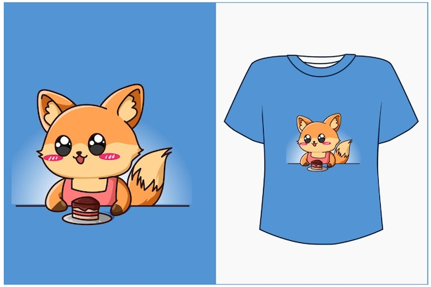 T-shirtontwerp mockup vos met cake cartoon afbeelding