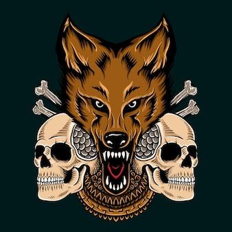 T-shirtontwerp schedel met wolf en mandala reay om af te drukken