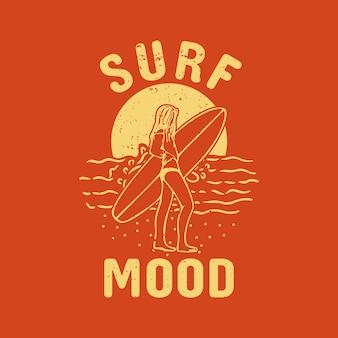 T-shirtontwerp surfstemming met surfer onder zonsondergang vintage illustratie