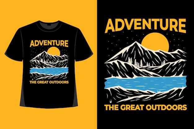 T-shirtontwerp van avontuur groot in openlucht rivier hand getrokken vintage illustratie