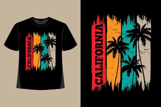 T-shirtontwerp van de retro vintage illustratie van de borstelpalm van californië