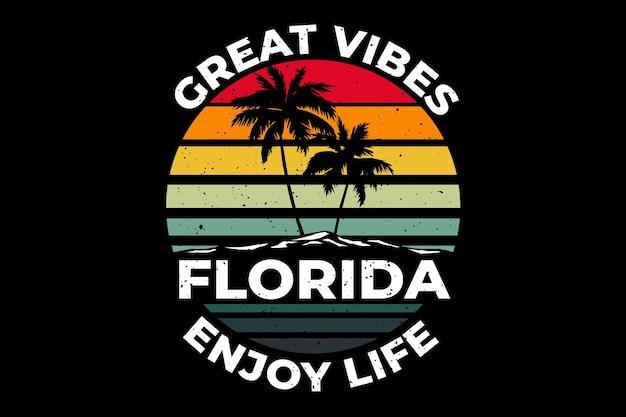 T-shirtontwerp van florida geweldige vibes geniet van het leven eiland retro vintage illustratie